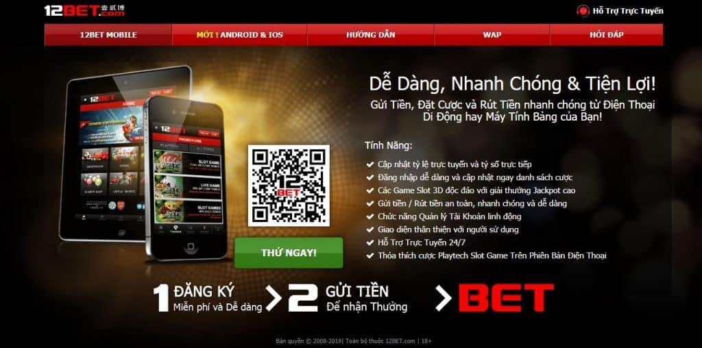 Dễ dàng cài app 12Bet