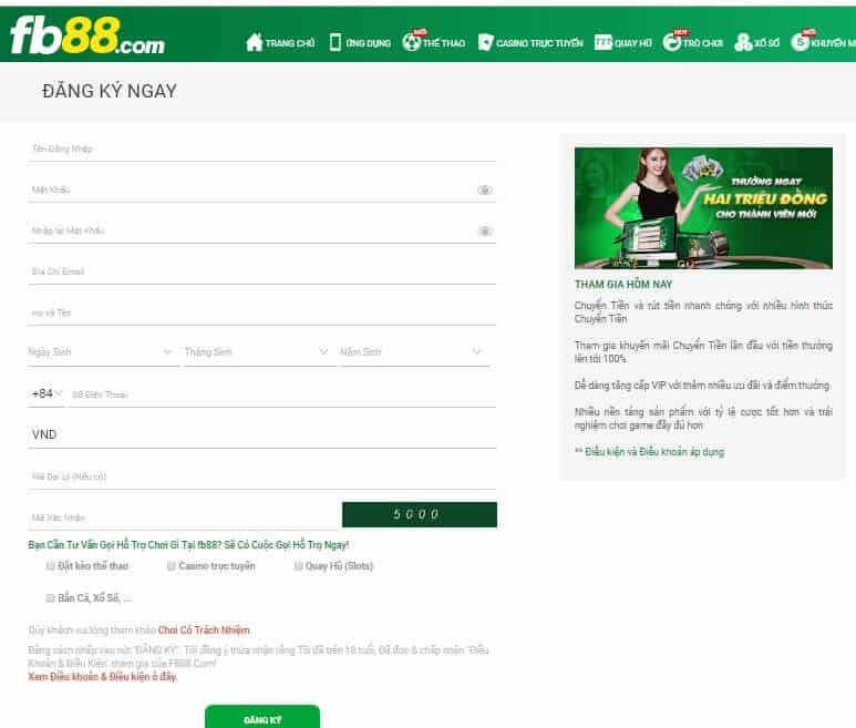 Đăng ký thành viên Fb88