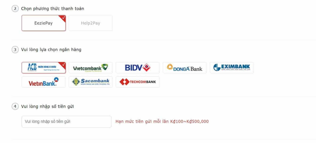Nhà cái Vwin hỗ trợ thanh toán nhiều ngân hàng